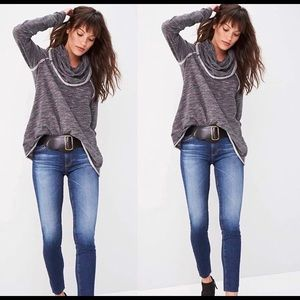 FREE PEOPLE Cotton Cowl Neck Pullover in Gray